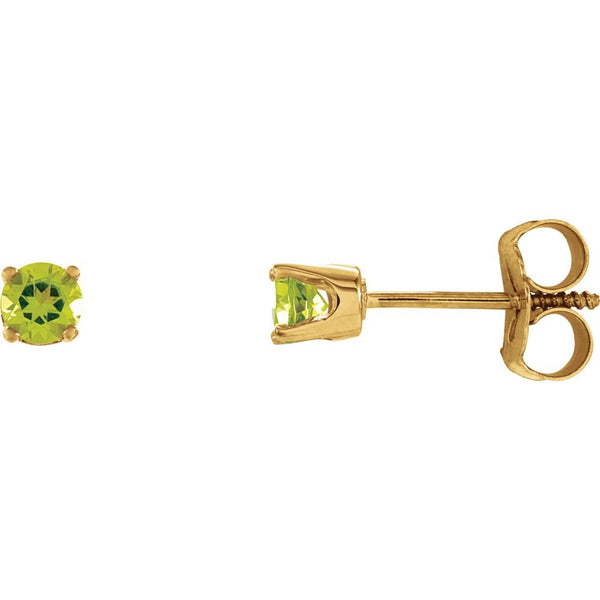 14k Yellow Gold Imitation Peridot Youth Earrings