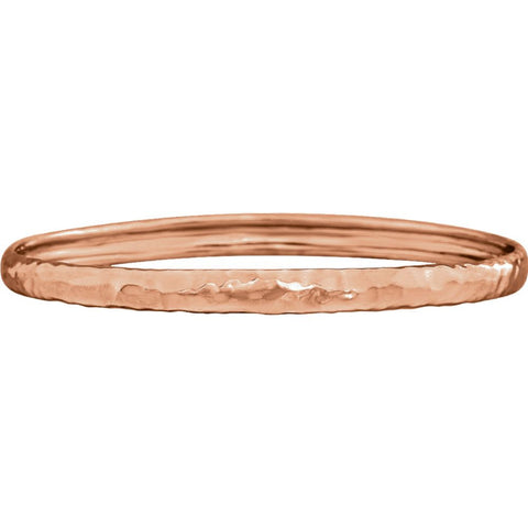 14k Rose Gold 5.1mm Hammered Bangle Bracelet