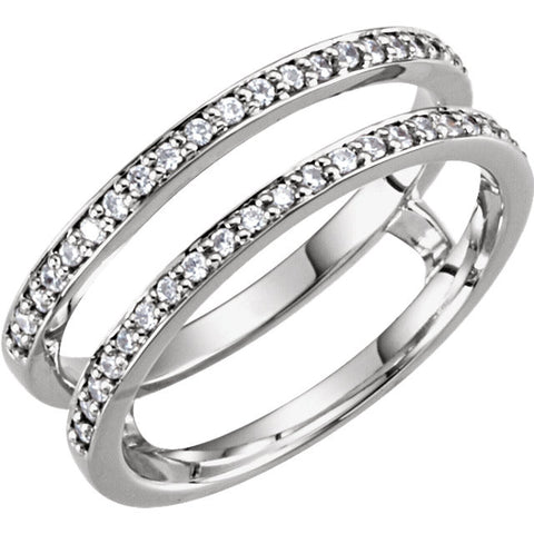 14k White Gold 1/5 CTW Diamond Ring Guard, Size 6