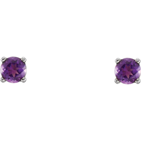 14k White Gold Imitation Amethyst Youth Earrings