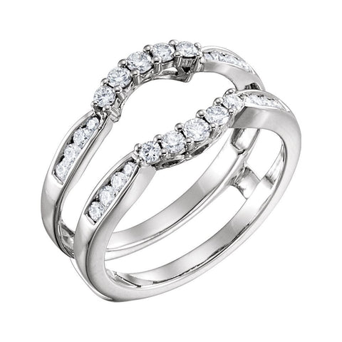 14k White Gold 1/2 ctw. Diamond Ring Guard, Size 7