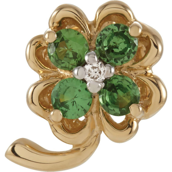 14k Yellow Gold Genuine Tsavorite Garnet and Diamond Clover Pendant