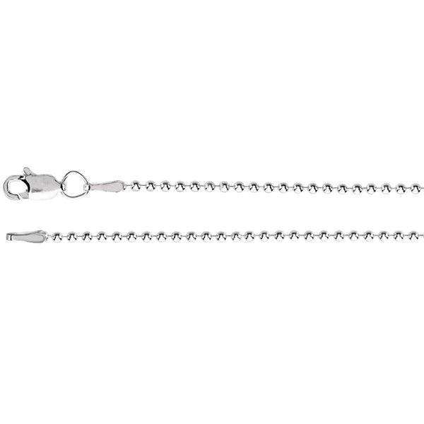 "14k White Gold 1.5mm Bead 20"" Chain"
