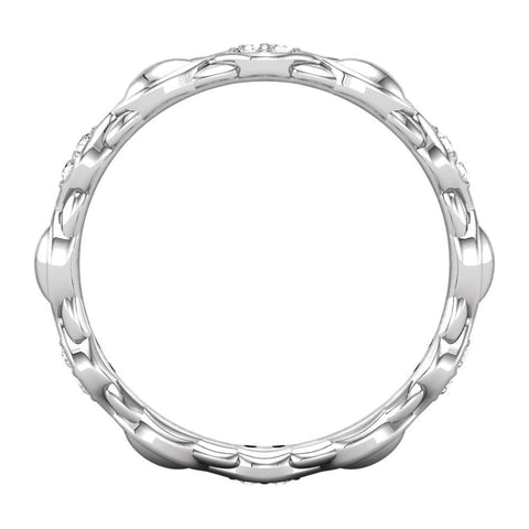 14k White Gold Cubic Zirconia Sculptural-Inspired Eternity Band Size 7