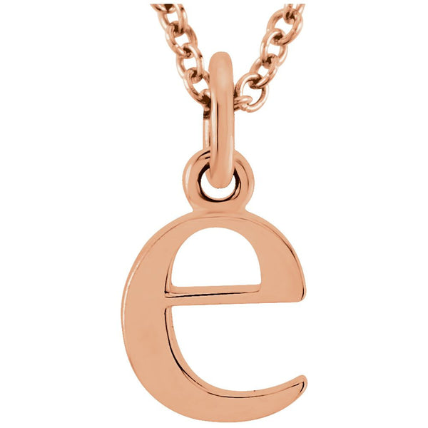 "14k Rose Gold ""e"" Lowercase Initial 16"" Necklace"