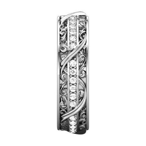 14k White Gold 1/3 CTW Diamond Sculptural-Inspired Eternity Band, Size 7
