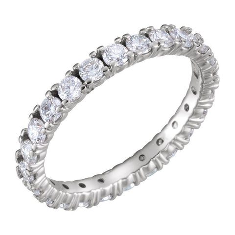 14k White Gold 1 3/8 CTW Diamond Eternity Band Size 6.5