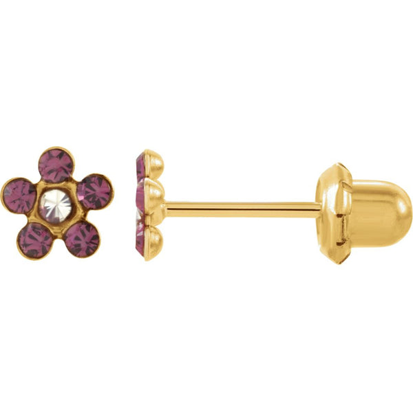 "14k Yellow Gold Imitation ""February"" Youth Birthstone Flower Inverness Piercing Earrings"