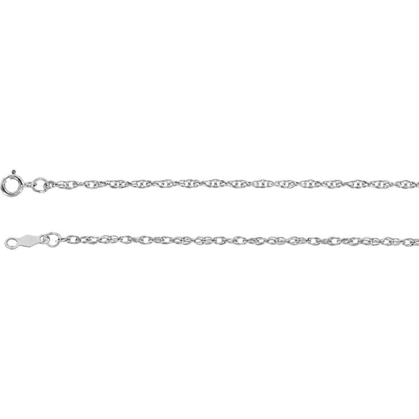 "14k White Gold 1.5mm Rope 16"" Chain"