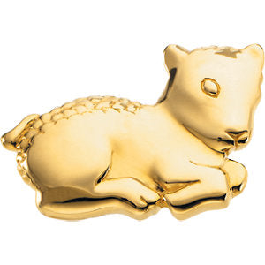 17.50x26.75 mm The Beloved Lamb Brooch in 14K Yellow Gold