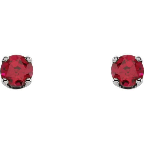 14k White Gold Chatham® Lab-Grown Ruby Youth Earrings