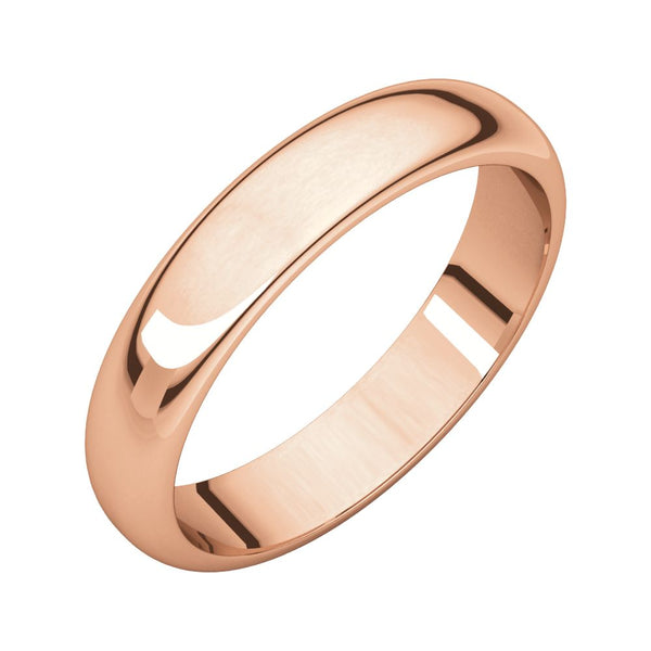10k Rose Gold 4mm Half Round Band, Size 7.5