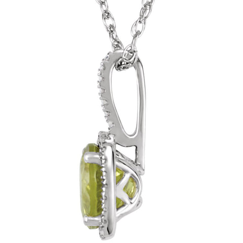 "Sterling Silver 7mm Peridot & .015 CTW Diamond 18"" Necklace"