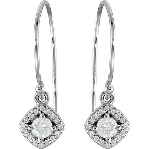 14k White Gold 3/8 CTW Diamond Earrings