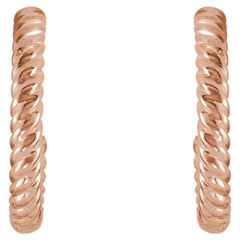 14k Rose Gold 12mm Rope Design Hoop Earrings