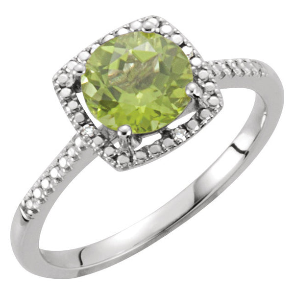 Sterling Silver Peridot & .01 CTW Diamond Ring, Size 6