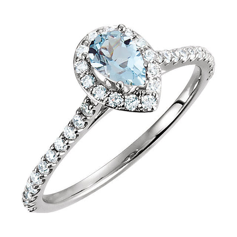 3/8 CTW Diamond and Aquamarine Ring in 14k White Gold (Size 6 )