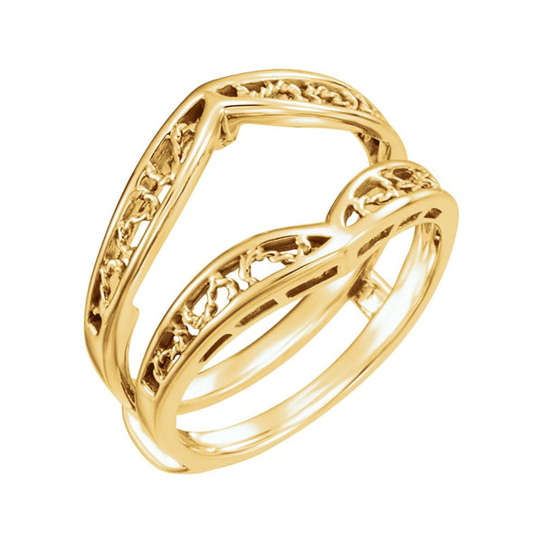14k Yellow Gold Ring Guard, Size 6