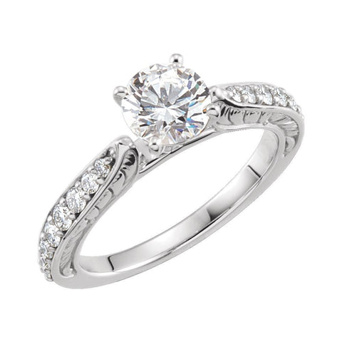 14K White Gold Cubic Zirconia & 3/8 CTW Diamond Sculptural Engagement Ring Size 7