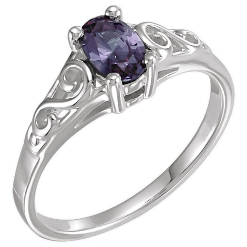 Sterling Silver June Imitation Birthstone Ring , Size 5