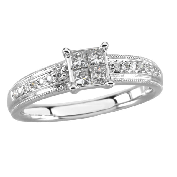 14k White Gold 1/3 CTW Diamond Engagement Ring, Size 7
