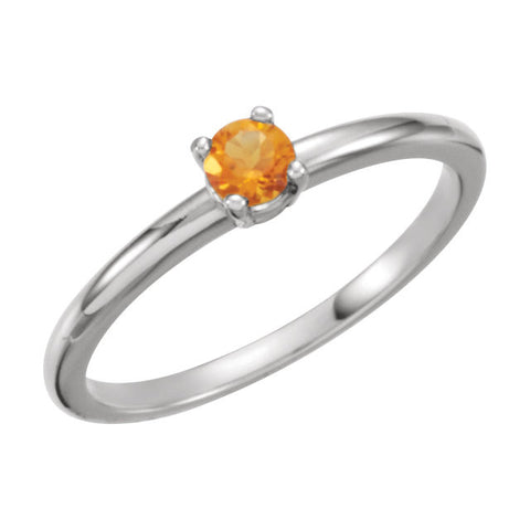 "Sterling Silver Imitation Citrine ""November"" Kid's Birthstone Ring, Size 3"