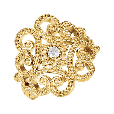 Granulated Design Ring in 14k Yellow Gold ( Size 7 )