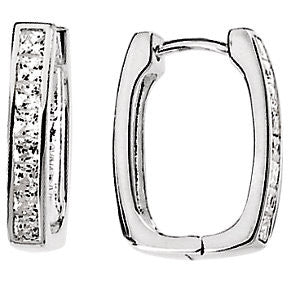Pair of Cubic Zirconia Hinged Hoop Earrings in Sterling Silver