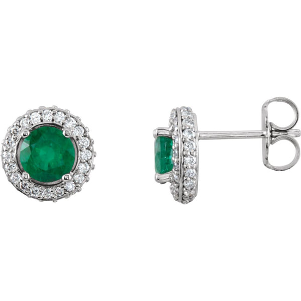 14k White Gold Emerald & 3/8 CTW Diamond Earrings