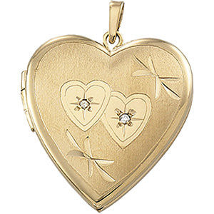 21.25x20.25 mm Heart Shaped Locket with Diamond in 14K Yellow Gold