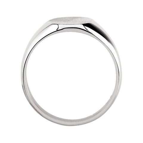 14k White Gold 10x12mm Oval Signet Ring , Size 6