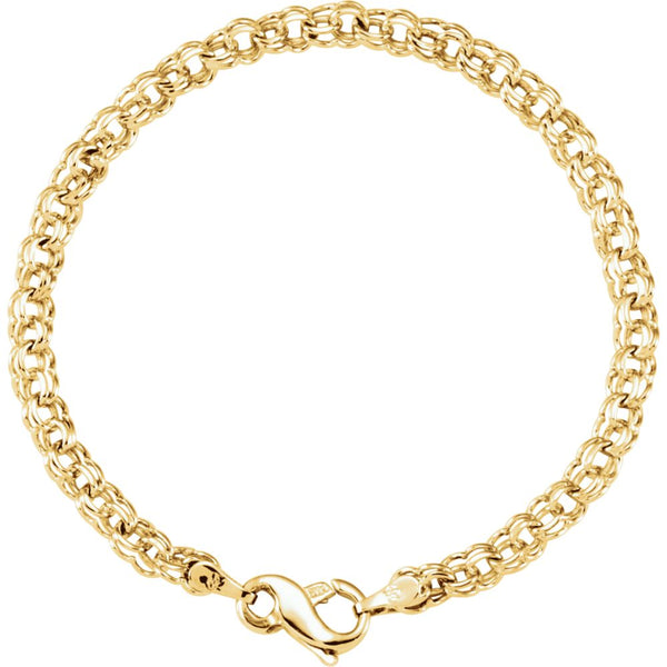 "14k Yellow Gold Solid Small Charm 7"" Bracelet"