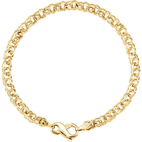 4.5 mm Solid small Charm Bracelet in 14k Yellow Gold ( 7-Inch )