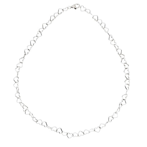 "Sterling Silver 6mm Heart Link 18"" Chain"