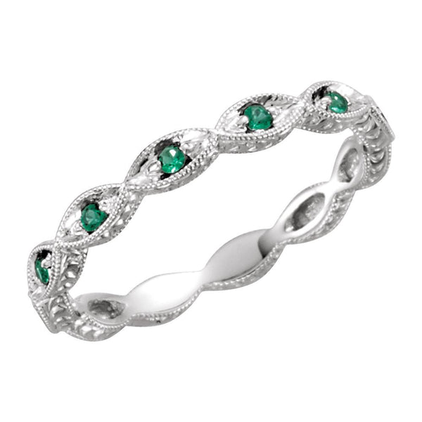 14k White Gold Emerald Anniversary Band Size 7