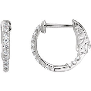 Pair of 0.25 ct. Inside/Outside Hoop Earrings in 14k White Gold