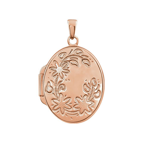 14K Rose Gold-Plated Sterling Silver Oval Locket
