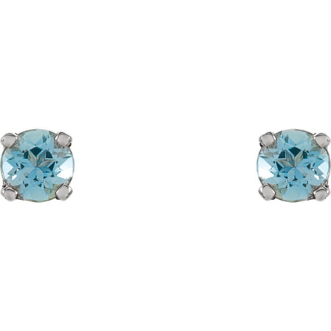 14k White Gold Imitation Blue Zircon Youth Earrings