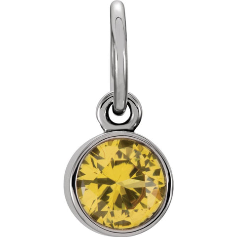 Sterling Silver Imitation Citrine Birthstone Charm