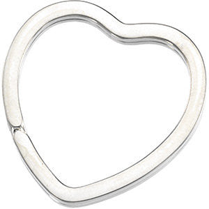Heart Shaped Split Key Ring in Sterling Silver