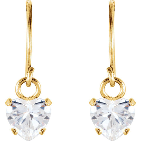 14k Yellow Gold 4mm Heart Shape Dangle Youth Earrings