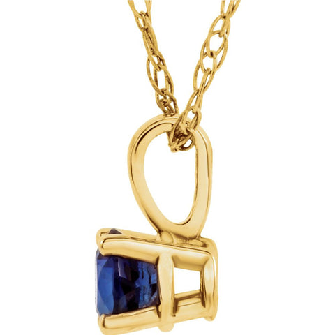 "14k Yellow Gold Imitation Blue Sapphire "" September"" Birthstone 14"" Necklace"