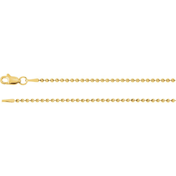 "14k Yellow Gold 1.5mm Bead 20"" Chain"
