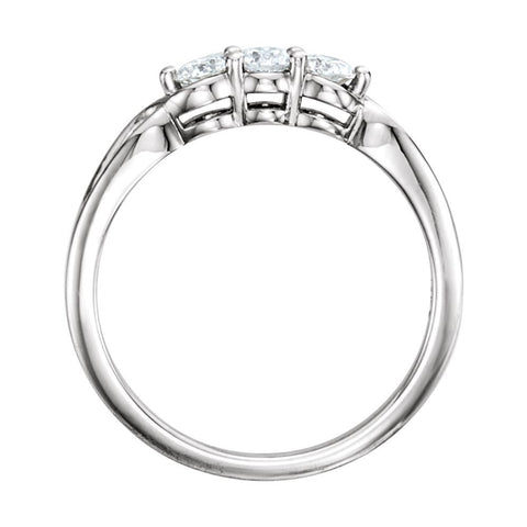 14k White Gold 1/3 CTW Diamond Three-Stone Ring , Size 7