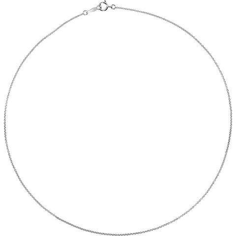 "18k White Gold 1mm Solid Cable 16"" Chain"