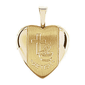Heart Baptismal Locket in Yellow Gold Plated Silver