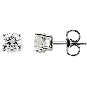 14k White Gold 6mm Cubic Zirconia Earrings