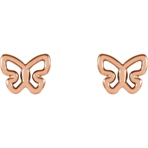 14k Rose Gold Butterfly Earrings