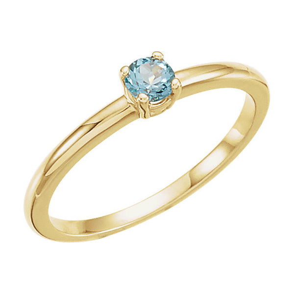 "14k Yellow Gold Swiss Blue Topaz ""December"" Youth Birthstone Ring, Size 3"