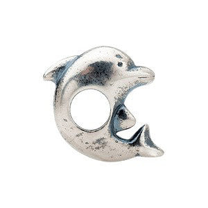 Sterling Silver 13x12.25mm Dolphin Slider Bead